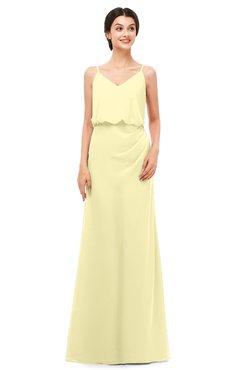 ColsBM Sasha Soft Yellow Bridesmaid Dresses Column Simple Floor Length Sleeveless Zip up V-neck