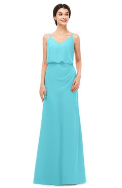 ColsBM Sasha Turquoise Bridesmaid Dresses Column Simple Floor Length Sleeveless Zip up V-neck