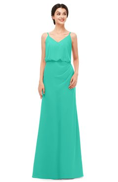 ColsBM Sasha Viridian Green Bridesmaid Dresses Column Simple Floor Length Sleeveless Zip up V-neck