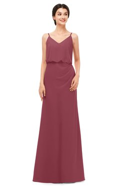 ColsBM Sasha Wine Bridesmaid Dresses Column Simple Floor Length Sleeveless Zip up V-neck