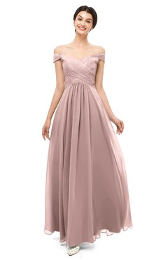ColsBM Lilith Blush Pink Bridesmaid Dresses Off The Shoulder Pleated Short Sleeve Romantic Zip up A-line