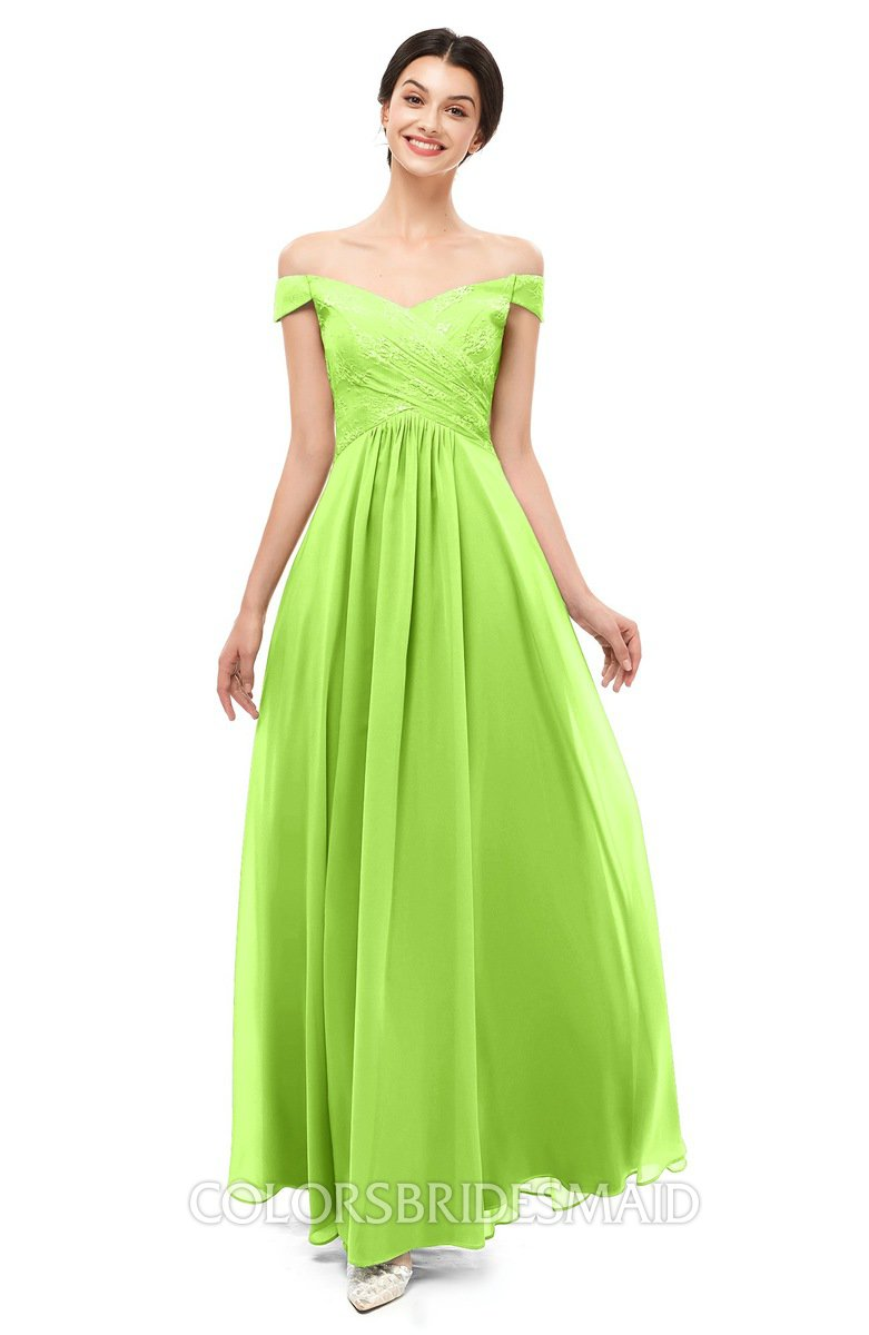 0ec6d0ad9582 ColsBM Lilith Bright Green Bridesmaid Dresses Off The Shoulder Pleated  Short Sleeve Romantic Zip up A