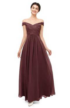 ColsBM Lilith Burgundy Bridesmaid Dresses Off The Shoulder Pleated Short Sleeve Romantic Zip up A-line