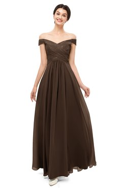 ColsBM Lilith Copper Bridesmaid Dresses Off The Shoulder Pleated Short Sleeve Romantic Zip up A-line