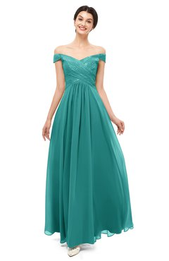 ColsBM Lilith Emerald Green Bridesmaid Dresses Off The Shoulder Pleated Short Sleeve Romantic Zip up A-line