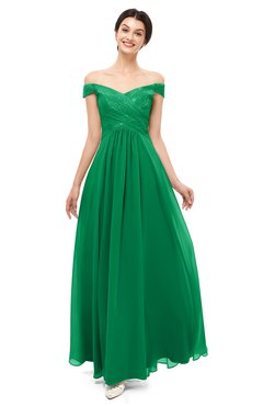 ColsBM Lilith Green Bridesmaid Dresses Off The Shoulder Pleated Short Sleeve Romantic Zip up A-line
