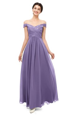 ColsBM Lilith Lilac Bridesmaid Dresses Off The Shoulder Pleated Short Sleeve Romantic Zip up A-line
