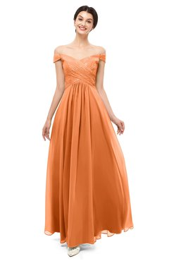 ColsBM Lilith Mango Bridesmaid Dresses Off The Shoulder Pleated Short Sleeve Romantic Zip up A-line