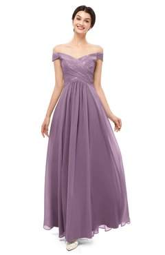 ColsBM Lilith Lavender Bridesmaid Dresses Off The Shoulder Pleated Short Sleeve Romantic Zip up A-line