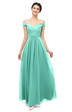 ColsBM Lilith Mint Green Bridesmaid Dresses Off The Shoulder Pleated Short Sleeve Romantic Zip up A-line