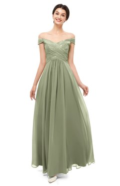 acb052f85819 ColsBM Lilith Moss Green Bridesmaid Dresses Off The Shoulder Pleated Short  Sleeve Romantic Zip up A