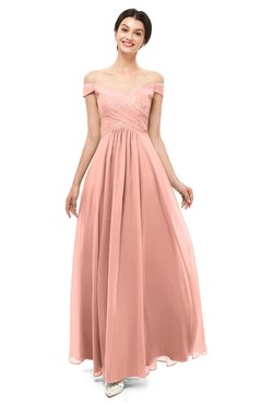 ColsBM Lilith Peach Bridesmaid Dresses Off The Shoulder Pleated Short Sleeve Romantic Zip up A-line