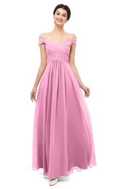 ColsBM Lilith Pink Bridesmaid Dresses Off The Shoulder Pleated Short Sleeve Romantic Zip up A-line