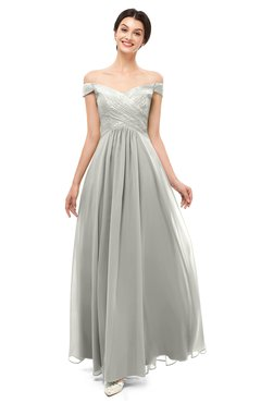 ColsBM Lilith Platinum Bridesmaid Dresses Off The Shoulder Pleated Short Sleeve Romantic Zip up A-line