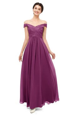 ColsBM Lilith Raspberry Bridesmaid Dresses Off The Shoulder Pleated Short Sleeve Romantic Zip up A-line