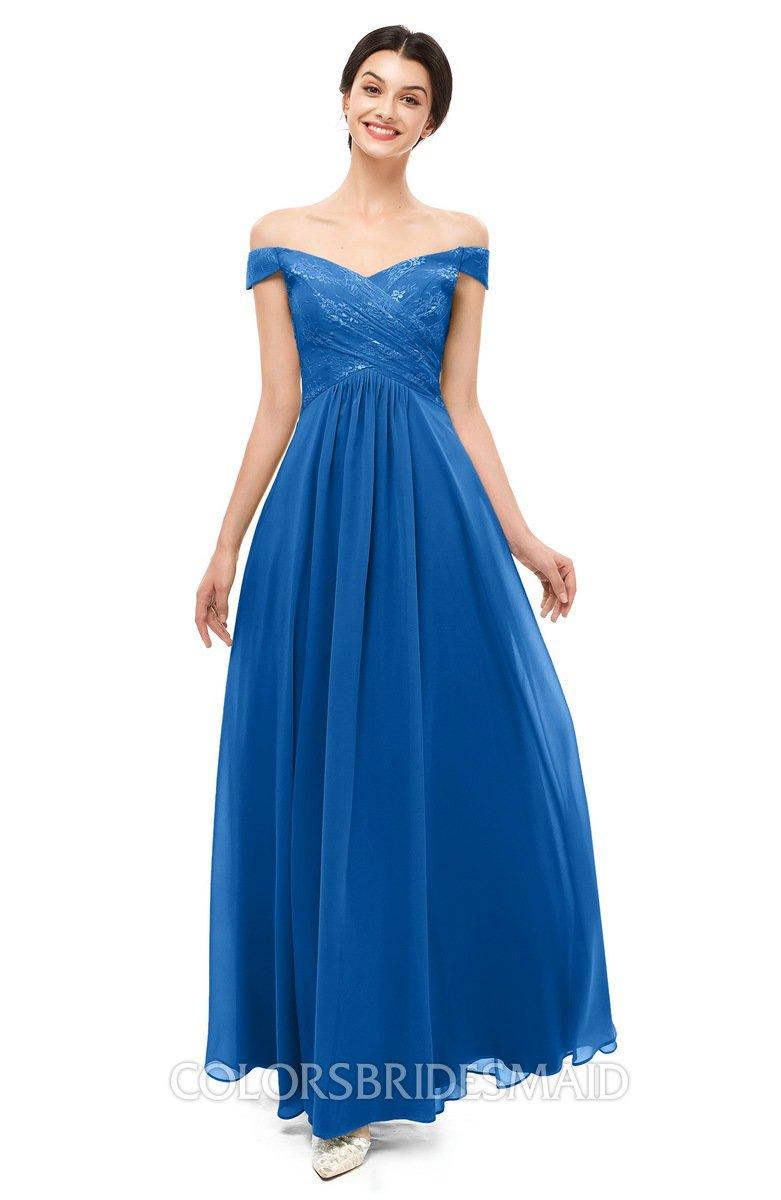 83e72567de3f ColsBM Lilith Royal Blue Bridesmaid Dresses Off The Shoulder Pleated Short  Sleeve Romantic Zip up A