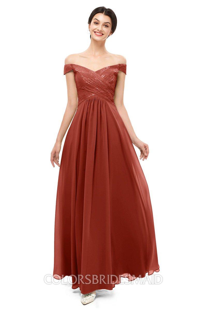 54d3ec96eb640 ColsBM Lilith Rust Bridesmaid Dresses Off The Shoulder Pleated Short Sleeve  Romantic Zip up A-