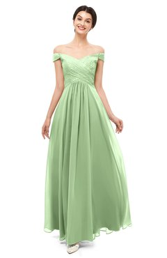 ColsBM Lilith Sage Green Bridesmaid Dresses Off The Shoulder Pleated Short Sleeve Romantic Zip up A-line
