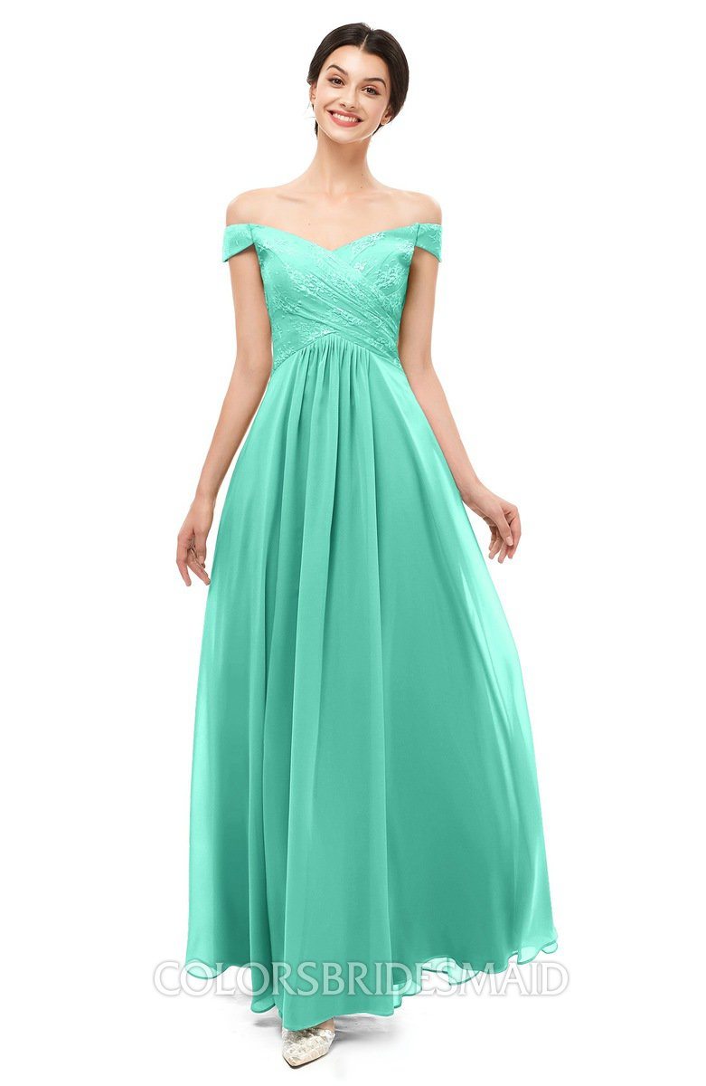 8a124dc07bc ColsBM Lilith Seafoam Green Bridesmaid Dresses Off The Shoulder Pleated  Short Sleeve Romantic Zip up A