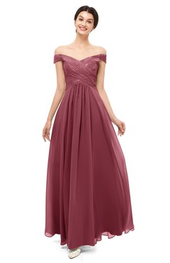 ColsBM Lilith Wine Bridesmaid Dresses Off The Shoulder Pleated Short Sleeve Romantic Zip up A-line
