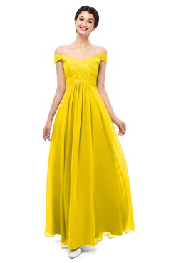 ColsBM Lilith Yellow Bridesmaid Dresses Off The Shoulder Pleated Short Sleeve Romantic Zip up A-line