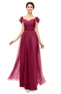 ColsBM Paula Burgundy Bridesmaid Dresses Zipper Sexy Beaded Floor Length Short Sleeve Spaghetti