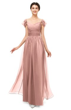 ColsBM Paula Coral Almond Bridesmaid Dresses Zipper Sexy Beaded Floor Length Short Sleeve Spaghetti