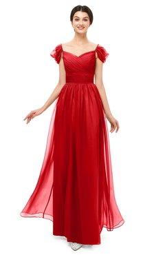 ColsBM Paula Flame Scarlet Bridesmaid Dresses Zipper Sexy Beaded Floor Length Short Sleeve Spaghetti
