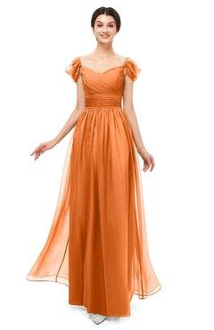 ColsBM Paula Mango Bridesmaid Dresses Zipper Sexy Beaded Floor Length Short Sleeve Spaghetti