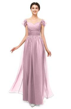 ColsBM Paula Mist Pink Bridesmaid Dresses Zipper Sexy Beaded Floor Length Short Sleeve Spaghetti