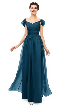 ColsBM Paula Moroccan Blue Bridesmaid Dresses Zipper Sexy Beaded Floor Length Short Sleeve Spaghetti