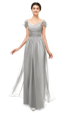 ColsBM Paula Platinum Bridesmaid Dresses Zipper Sexy Beaded Floor Length Short Sleeve Spaghetti