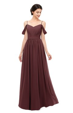 ColsBM Elwyn Burgundy Bridesmaid Dresses Floor Length Pleated V-neck Romantic Backless A-line