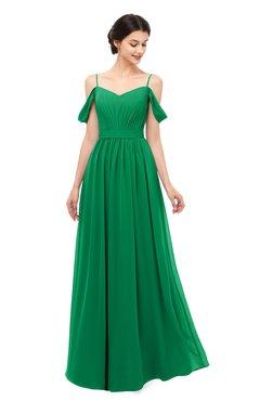 9064fb2395bb ColsBM Elwyn Green Bridesmaid Dresses Floor Length Pleated V-neck Romantic  Backless A-line