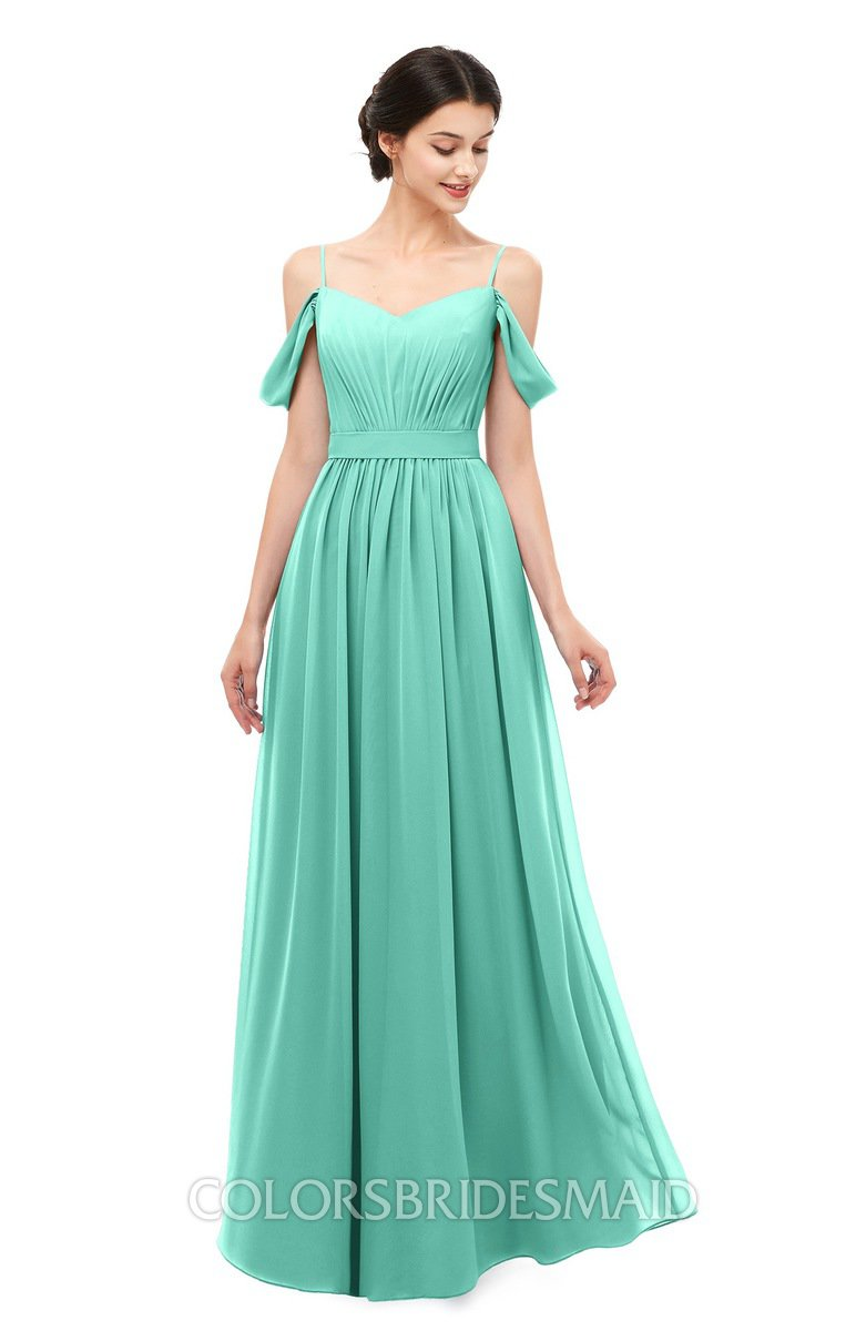 02ac226655d ColsBM Elwyn Mint Green Bridesmaid Dresses Floor Length Pleated V-neck  Romantic Backless A-