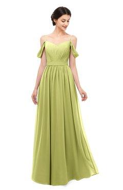 ColsBM Elwyn Pistachio Bridesmaid Dresses Floor Length Pleated V-neck Romantic Backless A-line