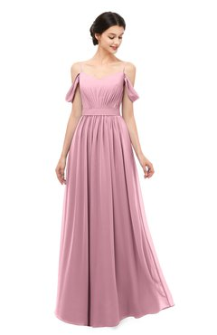 ColsBM Elwyn Rosebloom Bridesmaid Dresses Floor Length Pleated V-neck Romantic Backless A-line