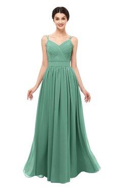 ColsBM Bryn Beryl Green Bridesmaid Dresses Floor Length Sash Sleeveless Simple A-line Criss-cross Straps