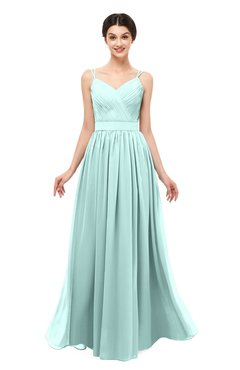 ColsBM Bryn Blue Glass Bridesmaid Dresses Floor Length Sash Sleeveless Simple A-line Criss-cross Straps
