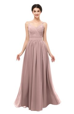 ColsBM Bryn Blush Pink Bridesmaid Dresses Floor Length Sash Sleeveless Simple A-line Criss-cross Straps