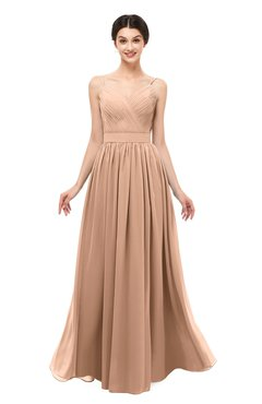 ColsBM Bryn Burnt Orange Bridesmaid Dresses Floor Length Sash Sleeveless Simple A-line Criss-cross Straps