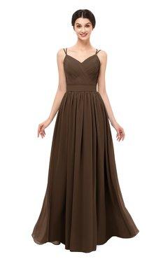 ColsBM Bryn Chocolate Brown Bridesmaid Dresses Floor Length Sash Sleeveless Simple A-line Criss-cross Straps