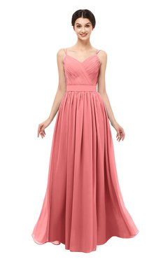 ColsBM Bryn Coral Bridesmaid Dresses Floor Length Sash Sleeveless Simple A-line Criss-cross Straps
