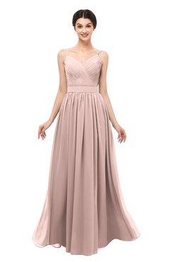 ColsBM Bryn Dusty Rose Bridesmaid Dresses Floor Length Sash Sleeveless Simple A-line Criss-cross Straps