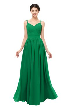 ColsBM Bryn Green Bridesmaid Dresses Floor Length Sash Sleeveless Simple A-line Criss-cross Straps