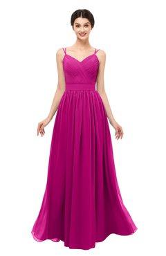ColsBM Bryn Hot Pink Bridesmaid Dresses Floor Length Sash Sleeveless Simple A-line Criss-cross Straps
