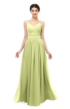 8ad9bb85fd2 ColsBM Bryn Lime Green Bridesmaid Dresses Floor Length Sash Sleeveless  Simple A-line Criss-