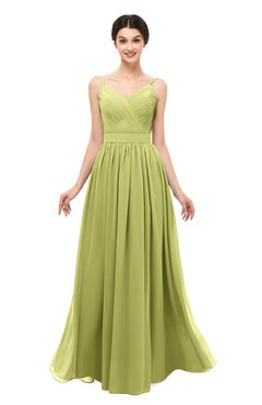 ColsBM Bryn Linden Green Bridesmaid Dresses Floor Length Sash Sleeveless Simple A-line Criss-cross Straps