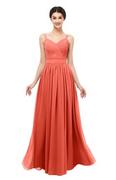 ColsBM Bryn Living Coral Bridesmaid Dresses Floor Length Sash Sleeveless Simple A-line Criss-cross Straps