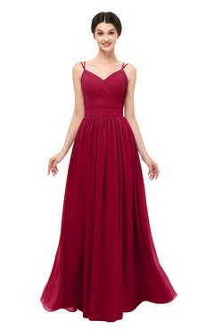 ColsBM Bryn Maroon Bridesmaid Dresses Floor Length Sash Sleeveless Simple A-line Criss-cross Straps